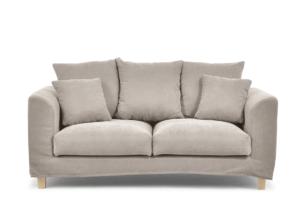 BRYONI, https://konsimo.pl/kolekcja/bryoni/ Sofa 2 osobowa z dodatkowymi poduszkami beżowa beżowy - zdjęcie