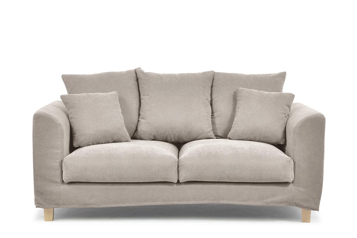 Sofa 2 osobowa z dodatkowymi poduszkami beżowa