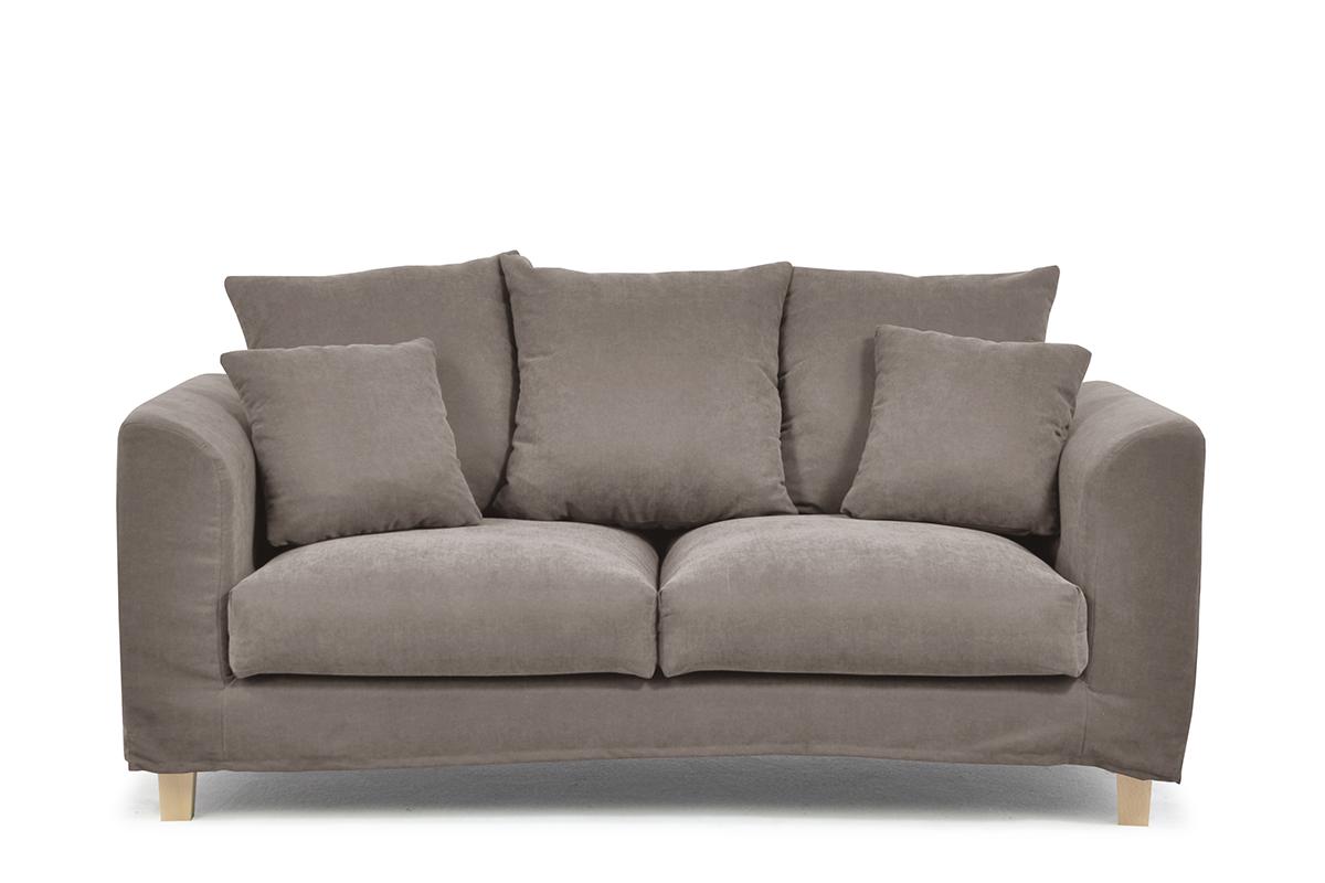 Sofa 2 osobowa z dodatkowymi poduszkami brązowa