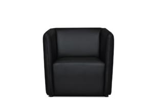 UMBO, https://konsimo.pl/kolekcja/umbo/ Niski fotel ekoskóra czarny czarny - zdjęcie