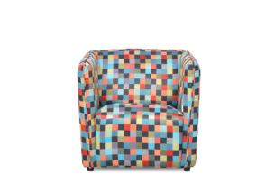 UMBO, https://konsimo.pl/kolekcja/umbo/ Niski fotel tkanina kolorowy wzór wielokolorowy - zdjęcie