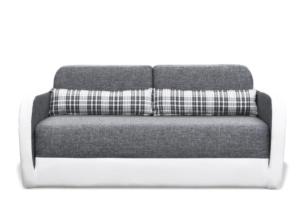 MURI, https://konsimo.pl/kolekcja/muri/ Sofa z funkcją spania dodatkowe poduszki dekoracyjne w kratkę szary/biały - zdjęcie