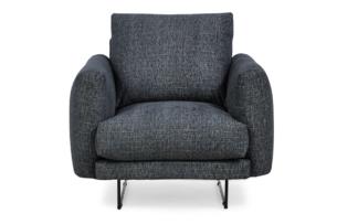 MINO, https://konsimo.pl/kolekcja/mino/ Komfortowy fotel do salonu na metalowym stelażu szary antracytowy - zdjęcie