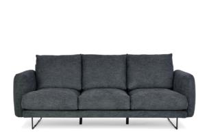 MINO, https://konsimo.pl/kolekcja/mino/ Komfortowa sofa 3 osobowa do salonu na metalowym stelażu szary antracytowy - zdjęcie