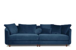 JUNI, https://konsimo.pl/kolekcja/juni/ Duża sofa welurowa na drewnianych nóżkach granatowa granatowy - zdjęcie
