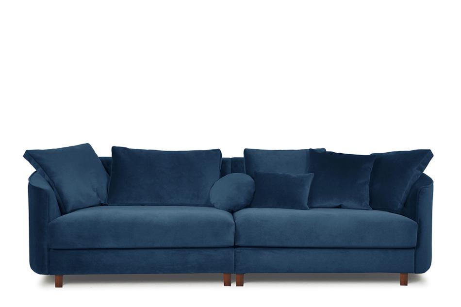 JUNI Duża sofa welurowa na drewnianych nóżkach granatowa granatowy - zdjęcie 0