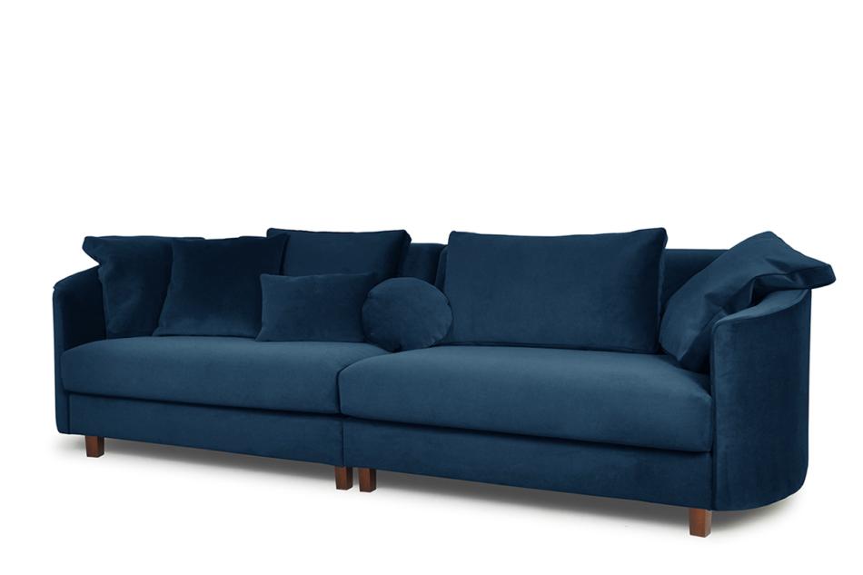 JUNI Duża sofa welurowa na drewnianych nóżkach granatowa granatowy - zdjęcie 1