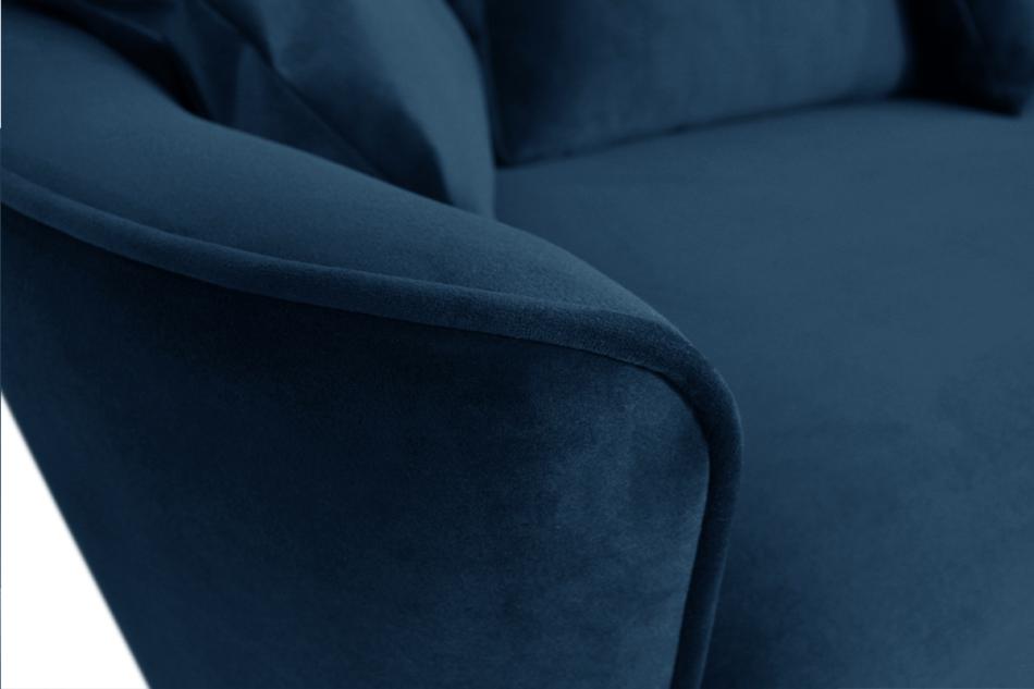 JUNI Duża sofa welurowa na drewnianych nóżkach granatowa granatowy - zdjęcie 3