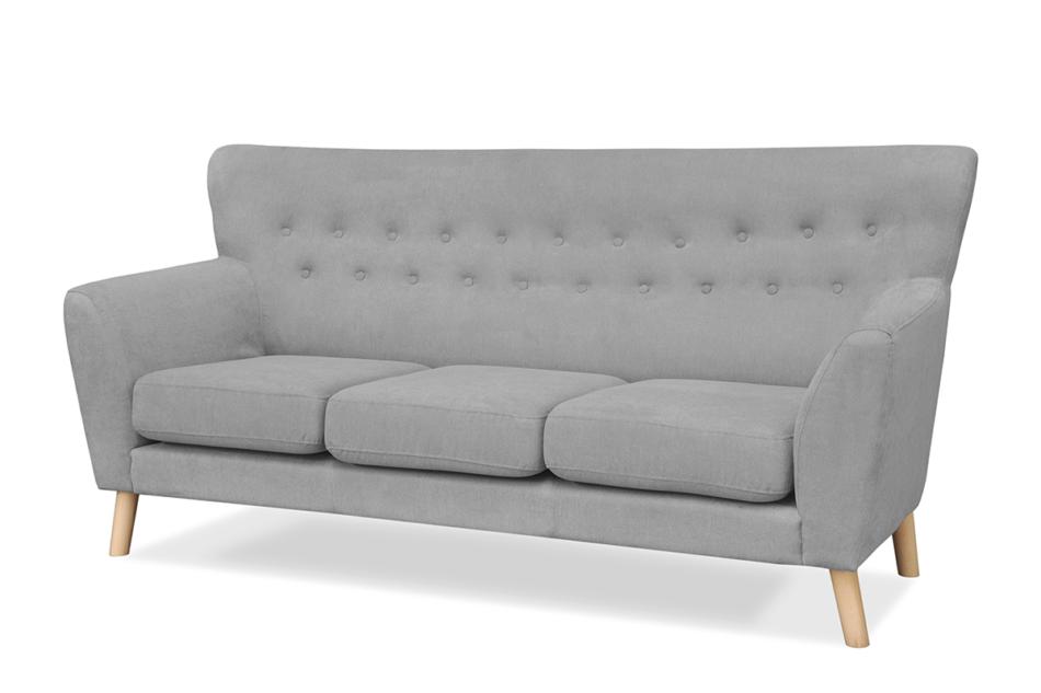 NEBRIS Skandynawska sofa na nóżkach 3 osobowa szara szary - zdjęcie 1