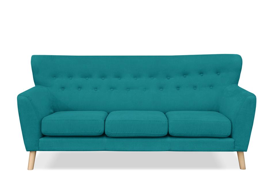 NEBRIS Skandynawska sofa na nóżkach 3 osobowa turkusowa turkusowy - zdjęcie 0