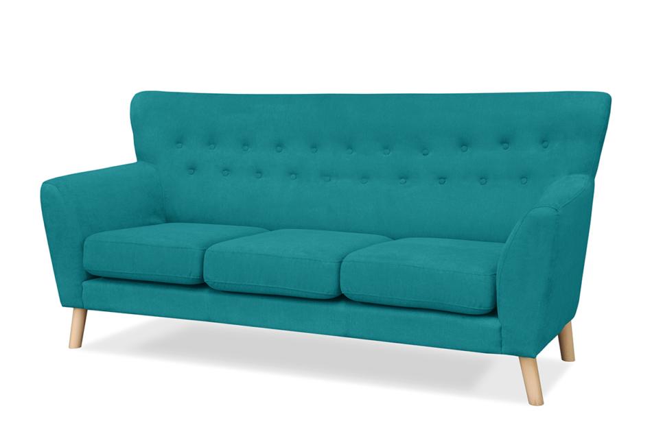 NEBRIS Skandynawska sofa na nóżkach 3 osobowa turkusowa turkusowy - zdjęcie 1