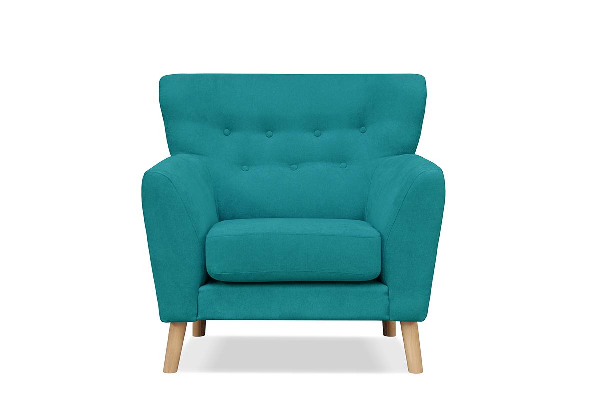 Skandynawski fotel na nóżkach turkusowy