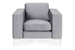TOSKANIA, https://konsimo.pl/kolekcja/toskania/ Wygodny fotel pastelowy klasyczny szary szary - zdjęcie