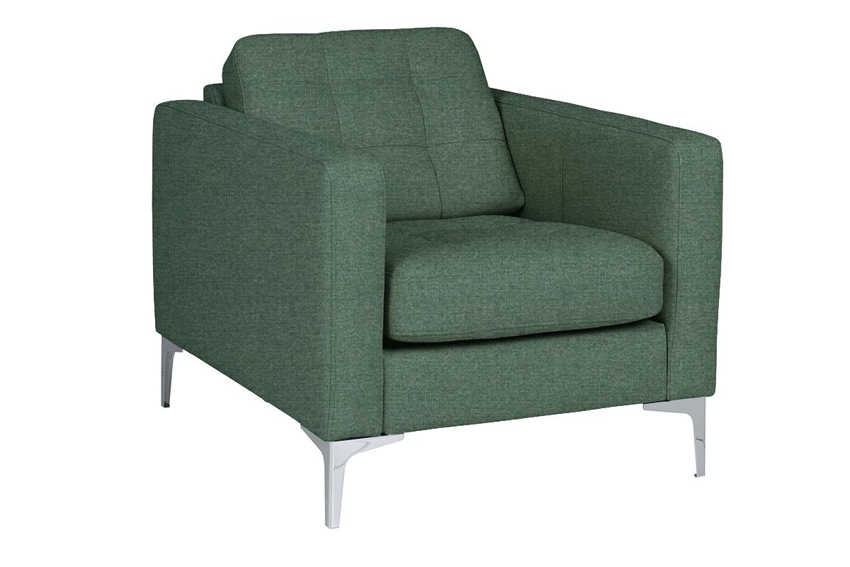 Nowoczesny fotel do salonu na metalowych nóżkach zielony