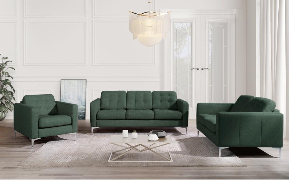 PORTOFINO Nowoczesna sofa 3 osobowa do salonu zielona zielony - zdjęcie 1