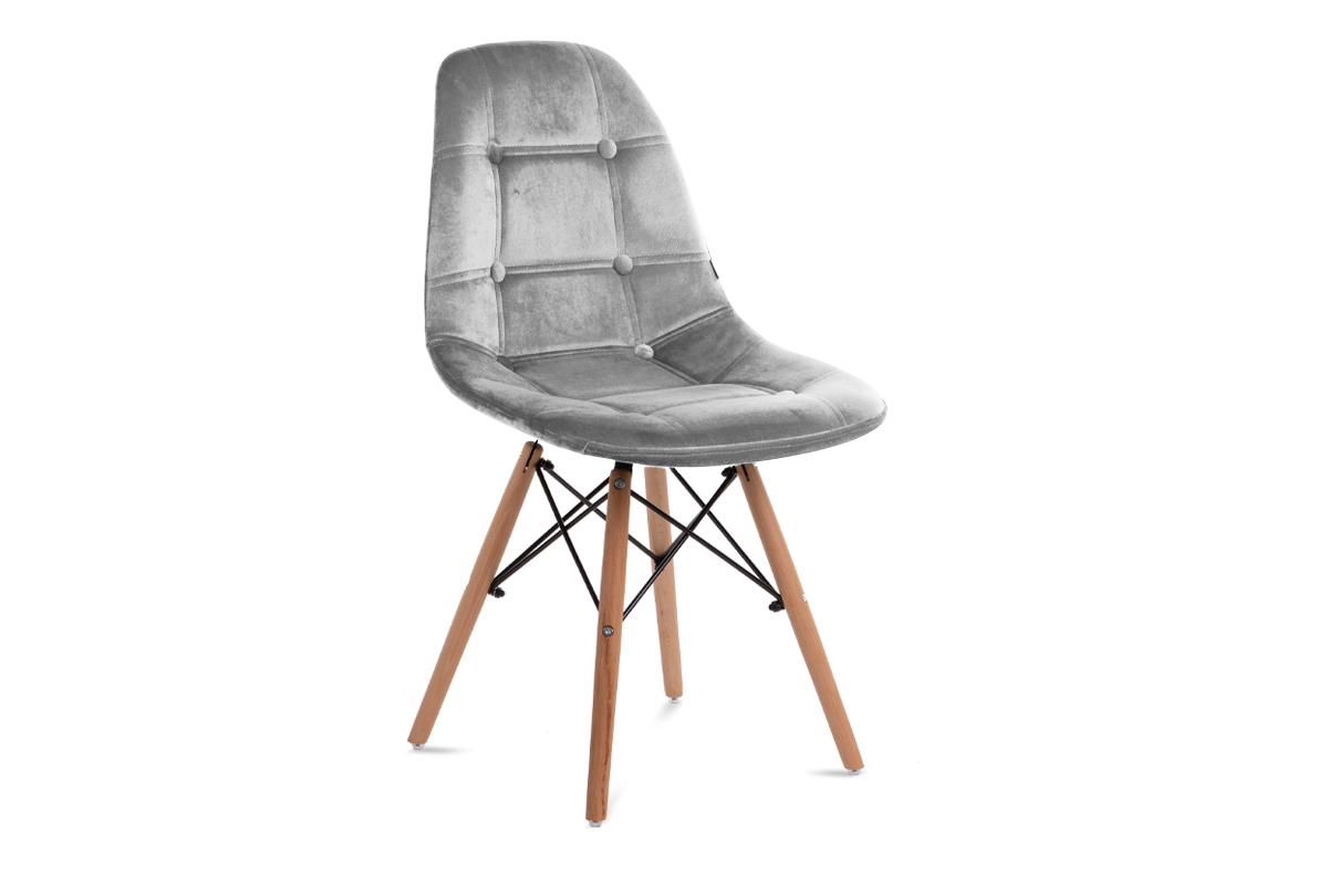 Nowoczesne krzesło welurowe szare