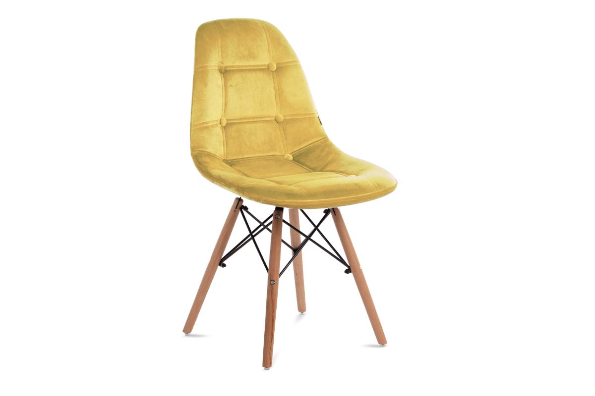 Nowoczesne krzesło welurowe żółte