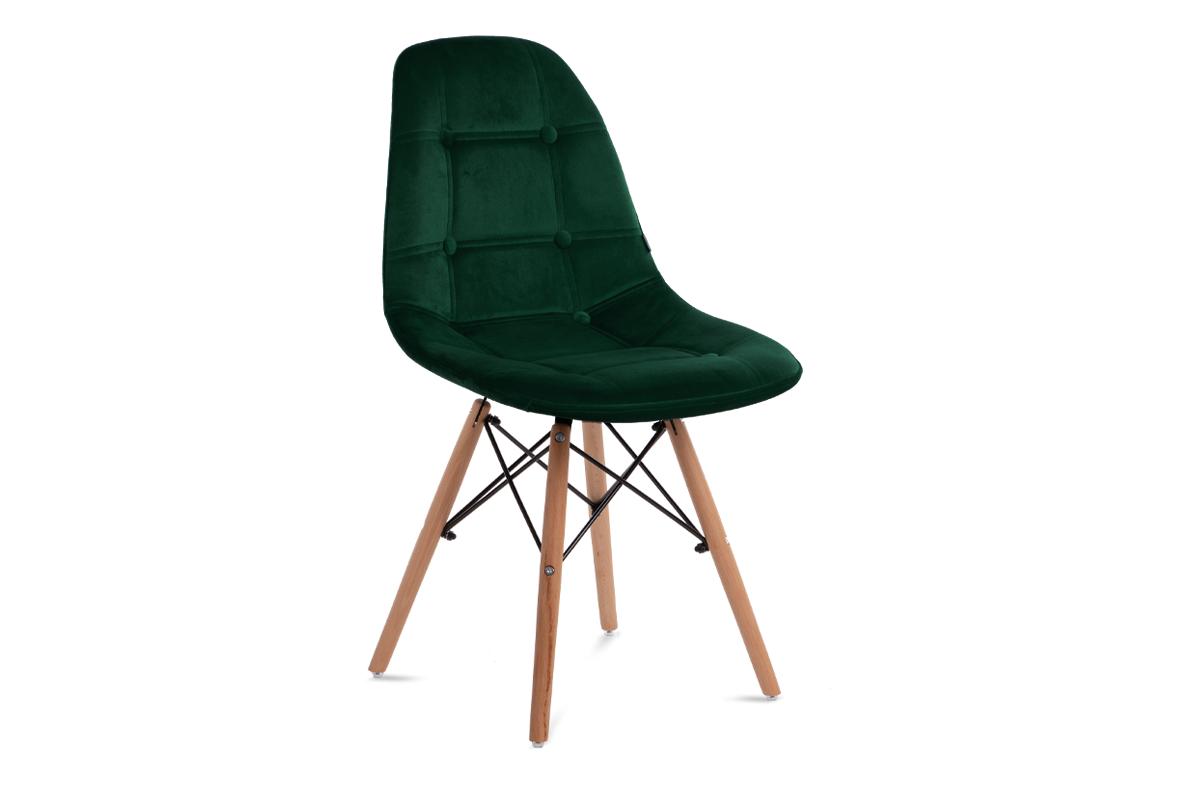 Nowoczesne krzesło welurowe butelkowa zieleń