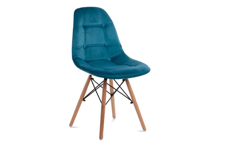 MICO Nowoczesne krzesło welurowe turkusowe turkusowy - zdjęcie 0
