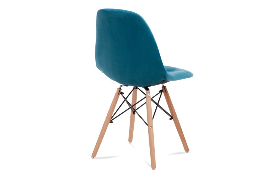 MICO Nowoczesne krzesło welurowe turkusowe turkusowy - zdjęcie 4