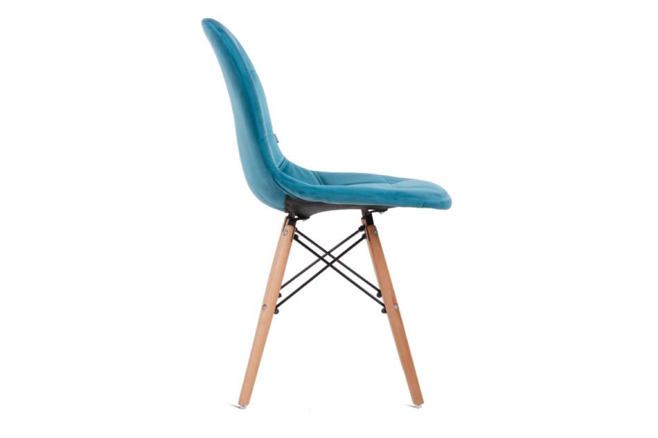 MICO Nowoczesne krzesło welurowe turkusowe turkusowy - zdjęcie 3