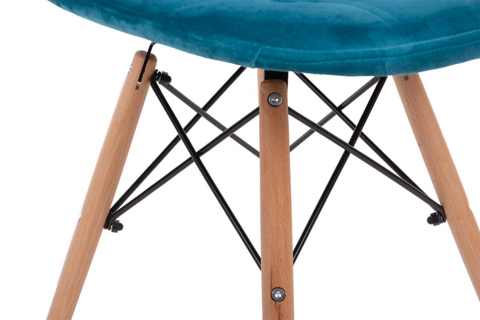 MICO Nowoczesne krzesło welurowe turkusowe turkusowy - zdjęcie 7