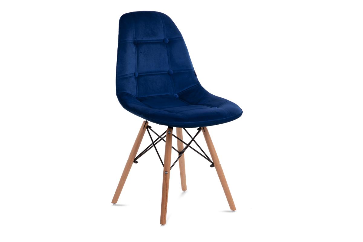 Nowoczesne krzesło welurowe granatowe