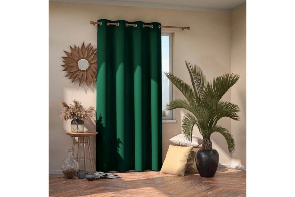 BLACKOUT Zasłona na przelotkach ciemny zielony - zdjęcie 1