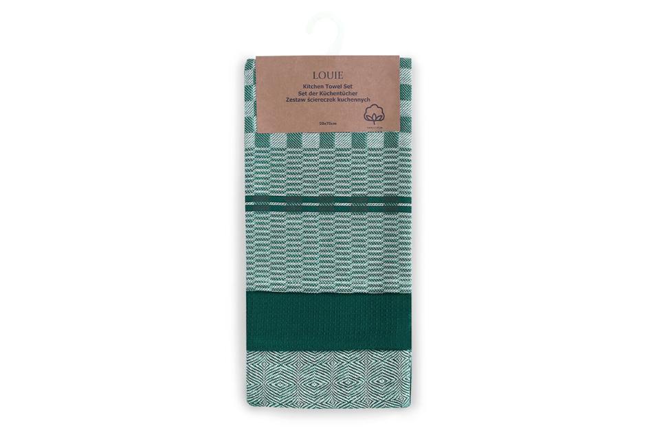 LOUIE Zestaw ścierek kuchennych (3szt.) zielony - zdjęcie 1