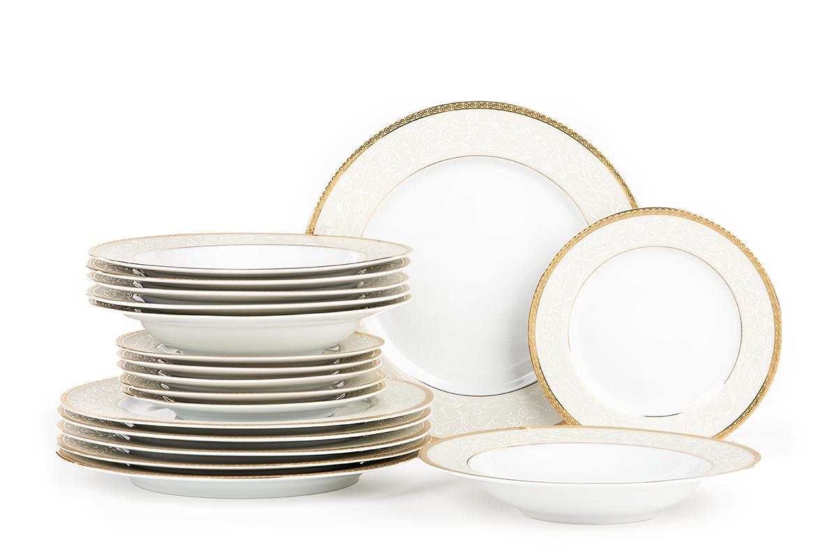 Serwis obiadowy polska porcelana 18 elementów biały / złoty wzór dla 6 os.
