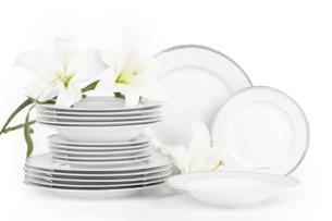 AGAWA PLATIN, https://konsimo.pl/kolekcja/agawa-platin/ Serwis obiadowy polska porcelana 18 elementów biały / platynowy wzór dla 6 os. Platin - zdjęcie