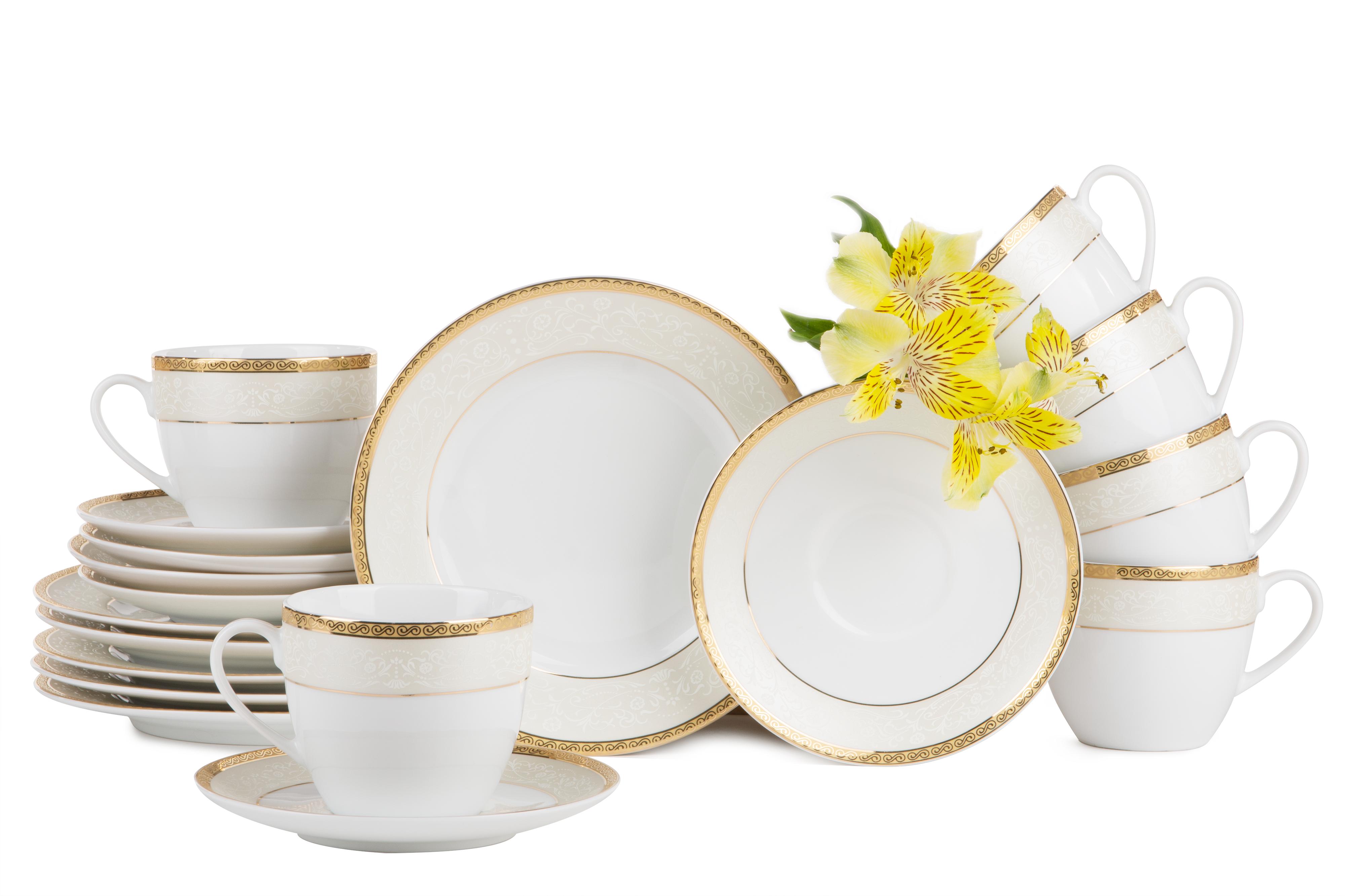 Serwis herbaciany polska porcelana 12 elementów biały / złoty wzór dla 6 os.