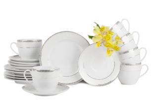 AGAWA PLATIN, https://konsimo.pl/kolekcja/agawa-platin/ Serwis herbaciany polska porcelana 12 elementów biały / platynowy wzór dla 6 os. Platin - zdjęcie