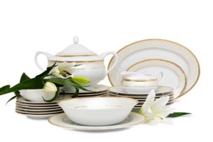 AGAWA GOLD, https://konsimo.pl/kolekcja/agawa-gold/ Serwis obiadowy polska porcelana 25 elementów biały / złoty wzór dla 6 os. Gold - zdjęcie