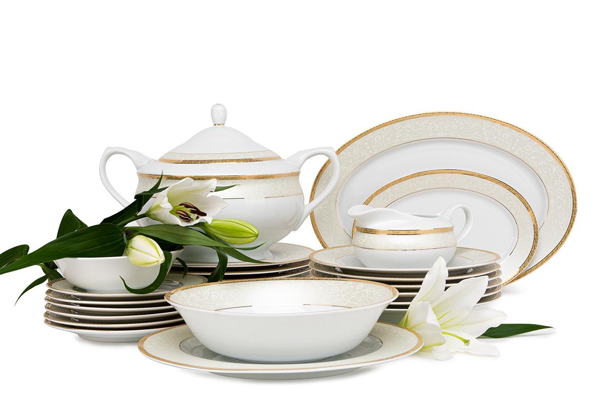 Serwis obiadowy polska porcelana 25 elementów biały / złoty wzór dla 6 os.