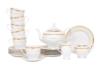 AGAWA GOLD Serwis herbaciany polska porcelana 15 elementów biały / złoty wzór dla 6 os. Gold - zdjęcie 1