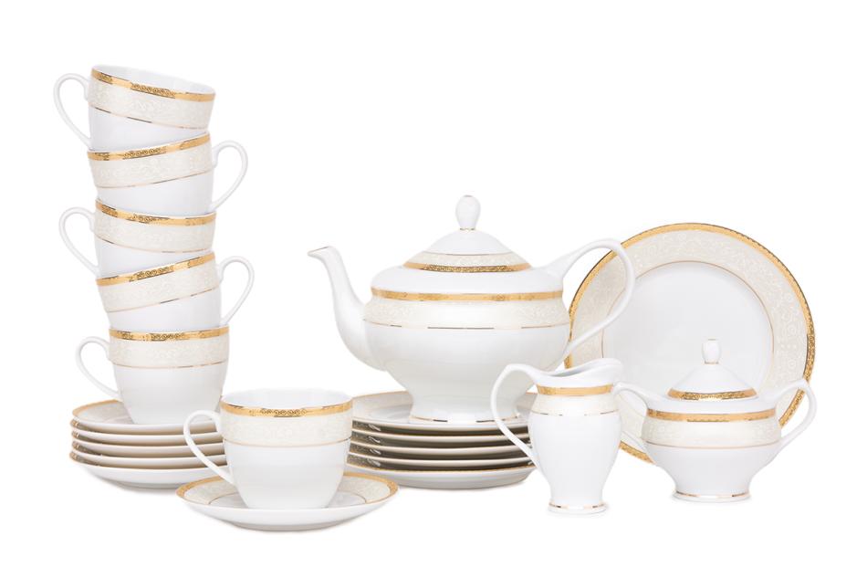 AGAWA GOLD Serwis herbaciany polska porcelana 15 elementów biały / złoty wzór dla 6 os. Gold - zdjęcie 0