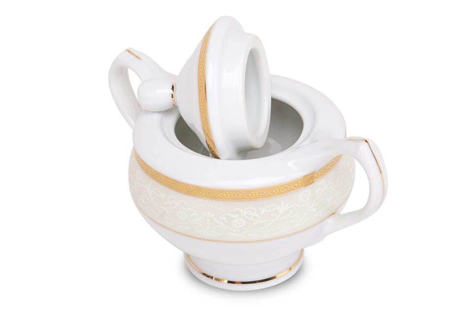 AGAWA GOLD Serwis herbaciany polska porcelana 15 elementów biały / złoty wzór dla 6 os. Gold - zdjęcie 3