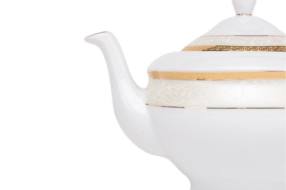 AGAWA GOLD Serwis herbaciany polska porcelana 15 elementów biały / złoty wzór dla 6 os. Gold - zdjęcie 8