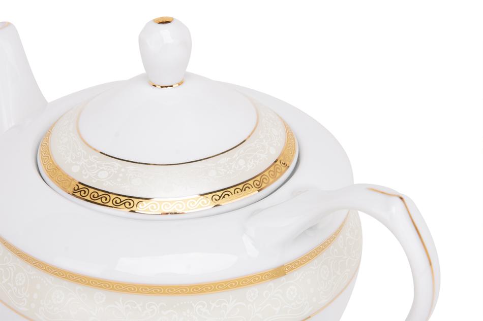 AGAWA GOLD Serwis herbaciany polska porcelana 15 elementów biały / złoty wzór dla 6 os. Gold - zdjęcie 9