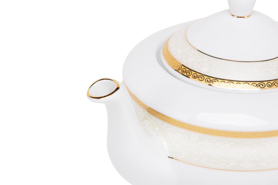 AGAWA GOLD Serwis herbaciany polska porcelana 15 elementów biały / złoty wzór dla 6 os. Gold - zdjęcie 6