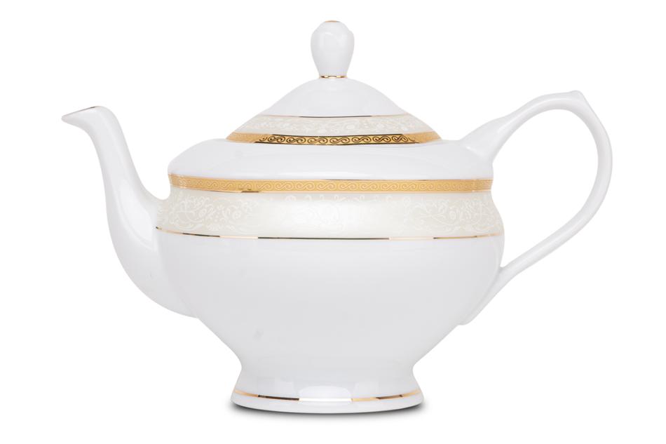 AGAWA GOLD Serwis herbaciany polska porcelana 15 elementów biały / złoty wzór dla 6 os. Gold - zdjęcie 7