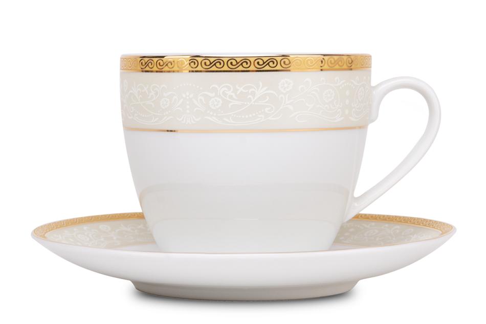 AGAWA GOLD Serwis herbaciany polska porcelana 15 elementów biały / złoty wzór dla 6 os. Gold - zdjęcie 11