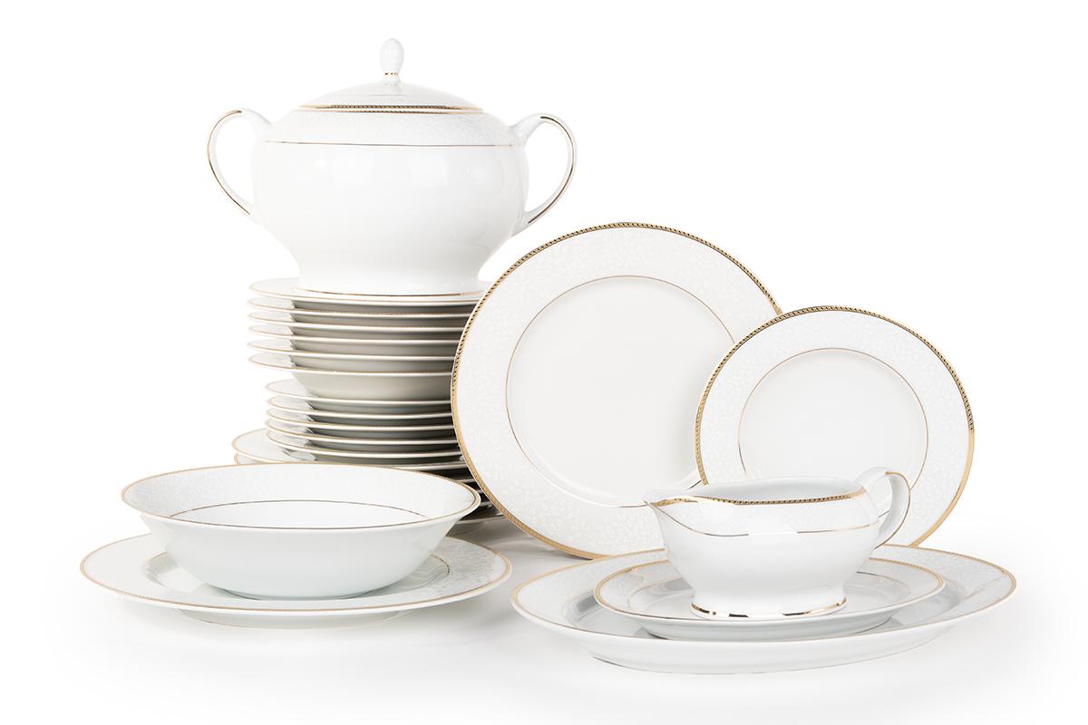 Serwis obiadowy polska porcelana 6 os. 24 elementy biały /złoty wzór