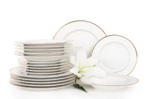 NEW HOLLIS GOLD, https://konsimo.pl/kolekcja/new-hollis-gold/ Serwis obiadowy polska porcelana 6 os. 18 elementów biały /złoty wzór Gold - zdjęcie