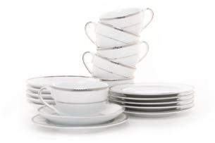 NEW HOLLIS PLATIN, https://konsimo.pl/kolekcja/new-hollis-platin/ Serwis herbaciany polska porcelana 6 os. 18 elementów biały / platynowy wzór Platin - zdjęcie