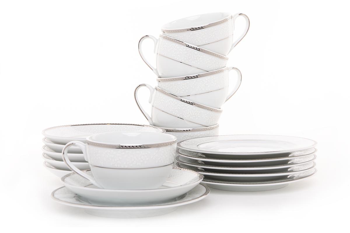 Serwis herbaciany polska porcelana 6 os. 18 elementów biały / platynowy wzór
