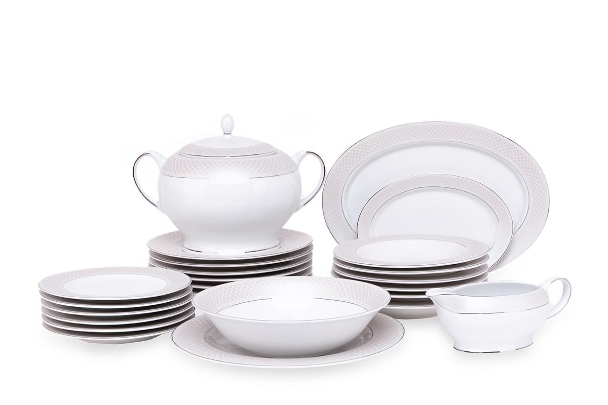 Serwis obiadowy polska porcelana 24 elementy biały / platynowy wzór dla 6 os.