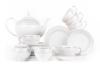 SCANIA Serwis herbaciany polska porcelana 15 elementów biały / platynowy wzór dla 6 os. Platin - zdjęcie 1