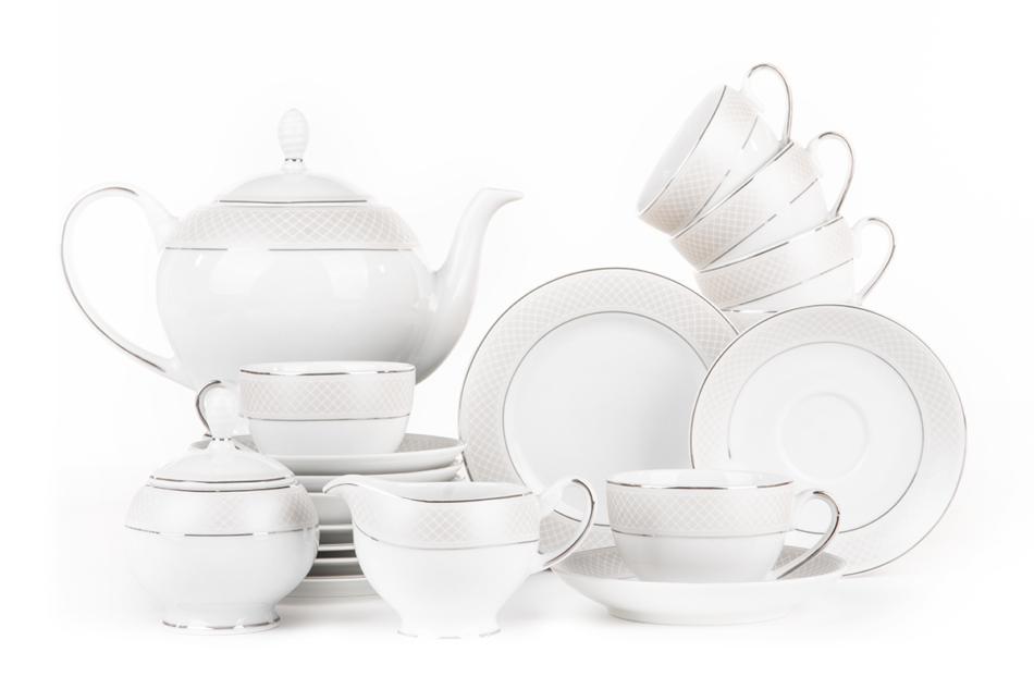 SCANIA Serwis herbaciany polska porcelana 15 elementów biały / platynowy wzór dla 6 os. Platin - zdjęcie 0